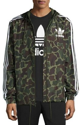 Adidas Logo Wind-Resistant Track Jacket, Green Camouflage $80 thestylecure.com