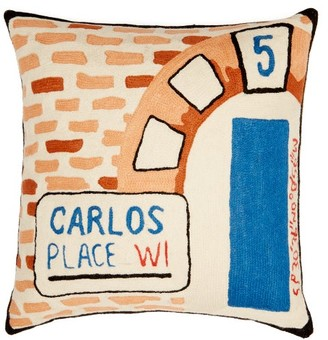 Kilometre Paris - Carlos Place London Embroidered Cotton Cushion - Multi