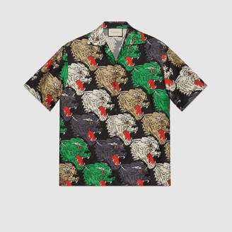Gucci Panther face bowling shirt