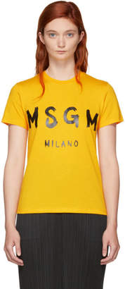 MSGM Yellow Writing Logo T-Shirt