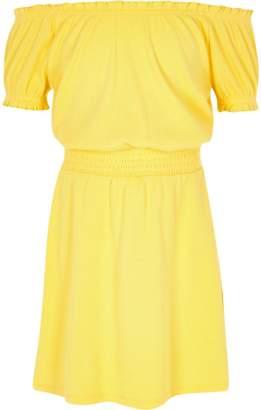 River Island Girls Yellow shirred bardot dress