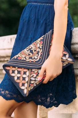 francesca's Emilia Embroidered Clutch Crossbody - Oxford Blue