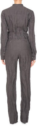 Neiman Marcus Pascal Millet Long-Sleeve Belted Button-Front Jumpsuit