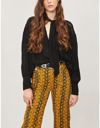 Free People Wishful Moments pussy-bow woven blouse