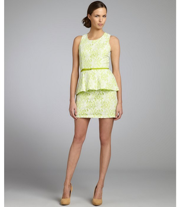 Romeo & Juliet Couture lime and white cotton lace belted peplum dress