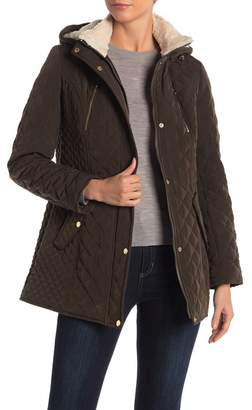 Laundry by Shelli Segal Quilted Faux Shearling Lined Hooded Jacket