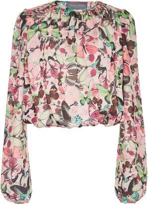 Monique Lhuillier Cropped Floral-Print Chiffon Blouse