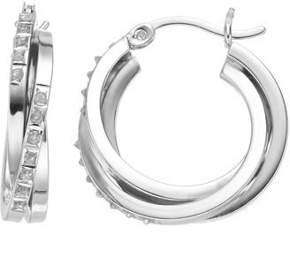 Mystique Diamond Platinum Over Silver Double Hoop Earrings