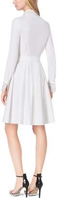 Michael Kors Crystal-Embellished Cotton-Poplin Shirtdress