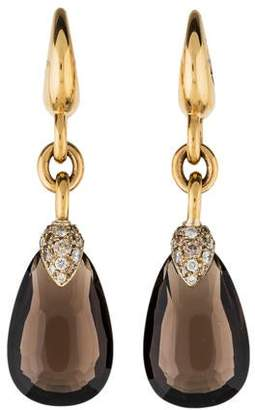 Pomellato 18K Diamond & Smoky Quartz Drop Earrings