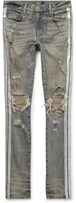 Amiri Track Skinny-Fit Distressed Glittered Stretch-Denim Jeans