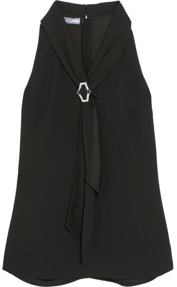 Prada - Crystal-embellished Crepe Top - Black