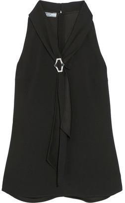 Crystal-embellished Crepe Top - Black