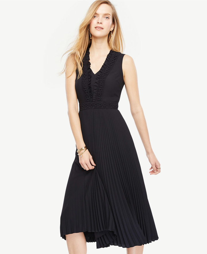 Ann TaylorEmbellished Pleated Midi Dress