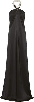 Adam Selman Pearl Halter Sarong Dress
