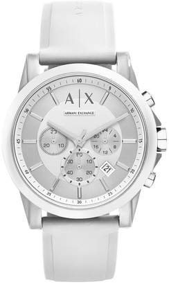 Armani Exchange Unisex Chronograph White Silicone Strap Watch 44mm AX1325