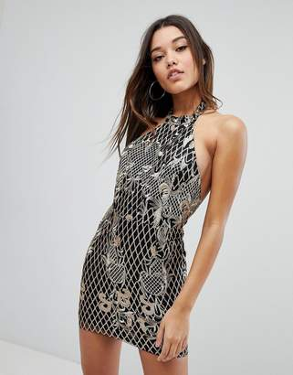Missguided Embroidered Sequin Halter Neck Mini Dress