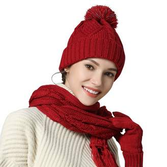 49bdf2c7da010 AGOOL Hat Gloves Scarf Set Knit Soft Pompom Touch Screen New Warm 3 Peices  Cold Weather
