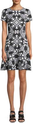 Neiman Marcus Short-Sleeve Puff-Print Scuba Dress