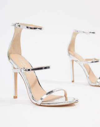Office Hush three strap silver heeled sandal