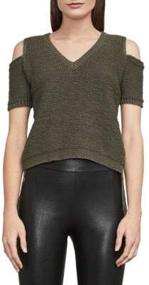 BCBGMAXAZRIA Joanne Cold-Shoulder Fringe Crop Top