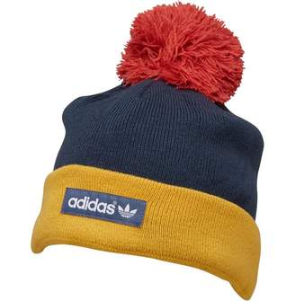 97ce1d5b95e adidas Woven Logo Pom-Pom Beanie Faded Ink Core Gold Raw Red