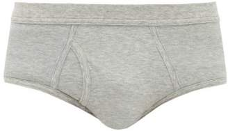 Platan Pima Cotton Jersey Briefs - Mens - Grey