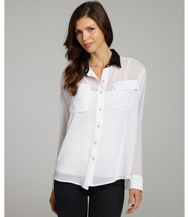 Wyatt white woven long sleeve contrast collar button front top