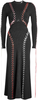 Alexander McQueen Bouclé Dress with Wool, Silk and Leather Lace-Up Detail