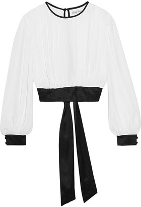 Alice + Olivia Alice Olivia - Dakota Cropped Georgette And Stretch-silk Satin Top - White $330 thestylecure.com