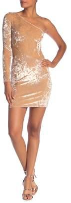 Alice + Olivia Malia Velvet Cutout One Shoulder Mini Dress