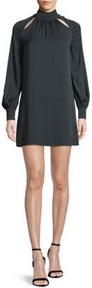 Milly Sherrie Mock-Neck Long-Sleeve Stretch-Silk Dress