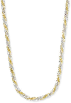 "Giani Bernini Two-Tone Twisted Link Chain Necklace in Sterling Silver & 18k Gold-Plate, 18"" + 2"" extender"