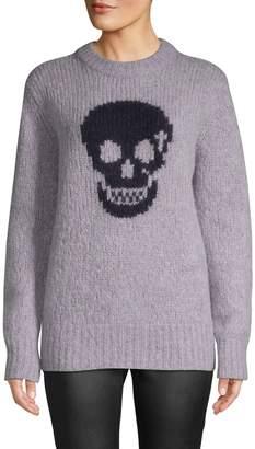 360 Cashmere Skull-Print Textured Sweater
