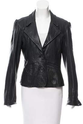 Gianfranco Ferre GF Leather Notch-Lapel Blazer