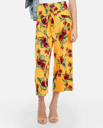 Express Super High Waisted Floral Knot Cropped Culottes
