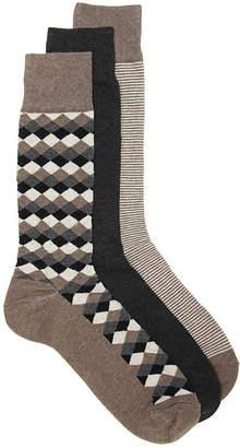 Cole Haan Diamond Crew Socks - 3 Pack - Men's