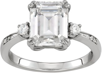 Charles & Colvard 14K White Gold 3-5/8 Carat T.W. Lab-Created Moissanite Emerald Solitaire Ring