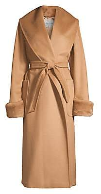 Max Mara Women's Christy Mink Fur-Trim Camel Wool Wrap Coat