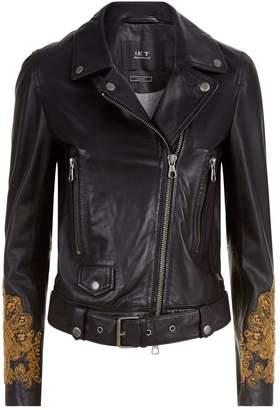 SET Embroidered Leather Jacket