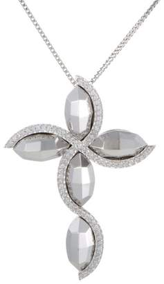Giovanni Ferraris 18K White Gold Diamond Large Cross Pendant Necklace