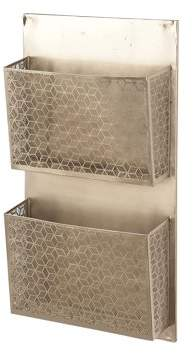 DecMode Decmode Contemporary Iron Pierced Lattice-Designed Gray Wall Mounted 2-Pocket Letter Holder, Gray