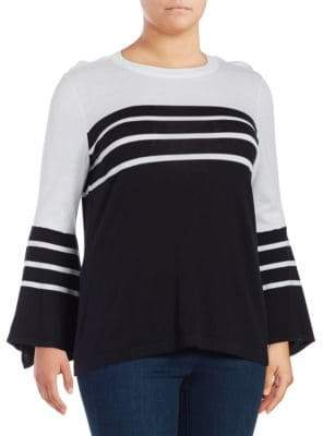 Vince Camuto Stripe-Print Handkerchief-Sleeve Sweater