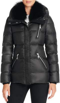 Andrew Marc Fox Fur-Trim Short Down Coat