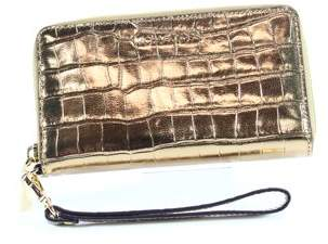 Michael Kors NEW Gold Multifunction Phone Case Wristlet Leather Wallet