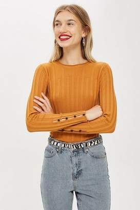 Topshop Ribbed Button Sleeve Top