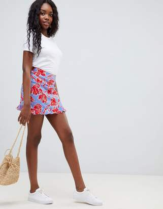 Glamorous floral print skirt with frill hem