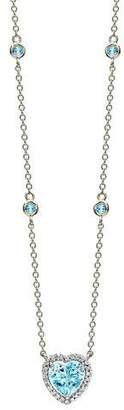 Kiki McDonough Grace 18k White Gold Blue Topaz Heart Pendant Necklace