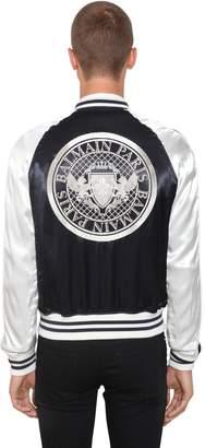 Balmain Logo Rayon Bomber Jacket