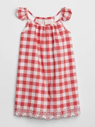 Gap Gingham Eyelet Flutter Dress